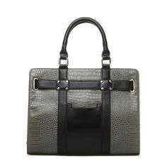 gray and black handbag