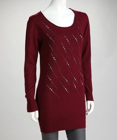 Take a look at this Burgundy Stud Streak Long-Sleeve Tunic by High Secret on #zulily today!