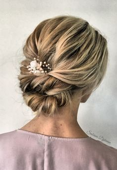 42 Gorgeous Wedding Hairstyles---low bun updo hairstyle with white flowers and e. 42 Gorgeous Wedding Hairstyles---low bun updo hairstyle with white flowers and elegant headpiece, rustic weddings, woodl. Hairstyle Bridesmaid, Bridesmaid Hair Updo Braid, Low Bun Updo, Messy Updo, Braided Updo, Updo With Curls, Soft Updo, Bridal Braids, Low Bridal Updo