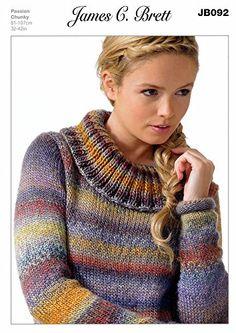 Sweater in James C. Brett Passion Chunky (JB092) Knitting Pattern