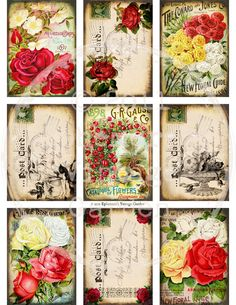 Vintage Rose Garden ATC/ACEO (ATC06) -Digital Collage Sheet. $4.00, via Etsy.