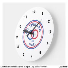 Custom Business Logo on Simple White Background Large Clock How To Make Wall Clock, Large Clock, Telling Time, Business Logo, Create Your Own, Simple, Big Clocks