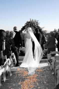 Ceremony site on the Sunset Patio at Chaminade Resort. Beautiful picture taken with the contrasting colors! Great idea for wedding shots that make the colors of your wedding really pop.
