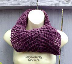 Eternity Scarf  Crochet Scarf Crochet Infinity Scarf Crochet Cowl Scarf Winter Scarf Mulberry Scarf Purple Scarf KNOT Scarf Ribbed Scarf by strawberrycouture by #strawberrycouture on #Etsy
