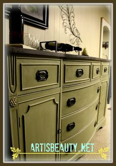 ART IS BEAUTY: Rescued Federal style Buffet Turned Bar.  Love the color and the stained top!