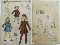 2 Vintage Patterns for girls, pinafore and coat by Waitingforgeorge on Etsy
