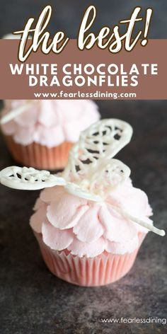 These cute cupcake toppers are so easy to make. If you haven't used chocolate to make dragonflies or butterflies, it makes a fun project. Kids love piping the melted chocolate! Simple step by step diretions to make these candies. www.fearlessdining.com Gluten Free Chocolate Cake, Chocolate Desserts, Melted Chocolate, White Chocolate, Cupcake Toppers, Cupcake Cakes, Dragonfly Cake, Cute Cupcakes, How To Make Chocolate
