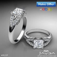Princess Diamond Engagement V Shape Pave Ring GIA G SI1 14k White Gold 1.25 ct