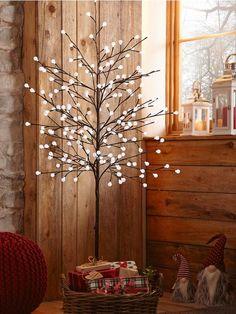 Buy John Lewis Pre-Lit Snowy Twig Christmas Tree, White, 6ft ...