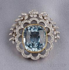 Edwardian Aquamarine and Diamond Brooch,   Sale Number 2487, Lot Number 504   Skinner Auctioneers