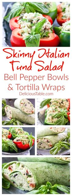Mayo-less SKINNY Italian Tuna Salad Bell Pepper Bowls Tortilla Wraps burst with healthy goodness: celery, avocado, basil, capers, olives, & sun dried tomatoes!