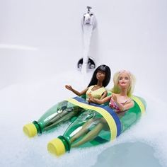 Barbie Bath Tub Boat-THIS is an example of why Pinterest is so interesting. Someone can take a Barbie doll and find a way to put them into a boat in the bathtub for the kiddos. BRILLIANT!