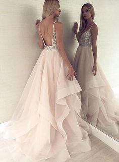 Champagne v neck tulle beaded long prom dress, evening dress