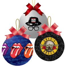 BuyRockNRoll : Rockin' Christmas Balls: Rolling Stones RUN DMC Guns N Roses 3 Tree Ornament Set