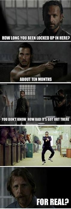 The Walking Dead. Haha I love the guy with the mustache, he brings humor to every episode he's in!