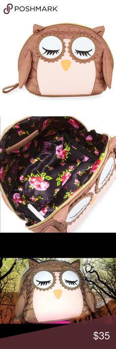 """NWT Betsey Johnson Quilted Cosmetic Bag Super cute and fun.  Betsey Johnson heart-quilted fabric cosmetic bag. Exterior, faux-leather (polyurethane). Zip-around top closure with looped pull. 3D arms and ears; logo plate on back. Interior, floral and logo print lining. 6.5""""H x 8.5""""W x 5""""D. Betsey Johnson Bags Cosmetic Bags & Cases"""