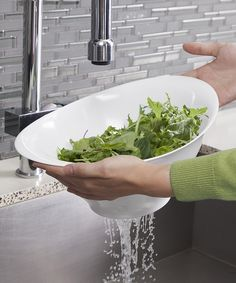White straining salad bowl that's pretty enough for the table