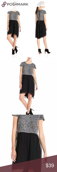 KENSIE Women s Dress Short Sleeve Sheath Line KENSIE SPECKLED CHEVRON DRESS  NEW WITH TAG  RETAIL: $99.00 !!! ***ON BIG SALE FOR A SHORT PERIOD OF TIME***  Size:  S  Look lovely and chic at the same time in this trend-right shift dress from Kensie.  Crew neckline Zipper closure at back Short Cap Sleeve Allover print Speckled Chevron Chiffon Shift silhouette A Line Lined Hits above knee Hi-Low Lenght  Approx Measurements:  •Armpit to Armpit: 17.5  • Length: 37 inches from shoulder to hem…