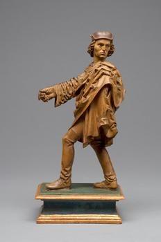 Falkner Vormals zugeschrieben an: Hans Syfer gest. 1509 Heilbronn  Süddeutsch  um 1500  Statuette  Holz, Birnholz, teilweise getönt, Sockel gefaßt  H. 31,3 cm mit Sockel  Grundriß Sockel:  14,4 x 10,4 cm