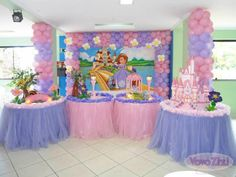 Princess Sofia Party, Princess Birthday, Sofia The First Birthday Party, Baby Party, One Balloon, Balloons, Princesa Sophia, Rainbow Parties, Holidays And Events