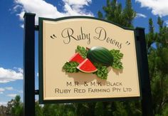 Ruby Downs Farm Business sign in Oakey, Queensland. See more hand-crafted signs on our site! Farm Business, Business Signs, Sign System, Farm Signs, Old Signs, Signage Design, Ruby Red, Things To Come, Creative