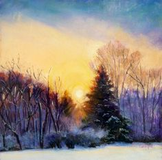 Spring Equinox - Matted and Framed original pastel Sunrise first day of Spring , painting by artist Takeyce Walter