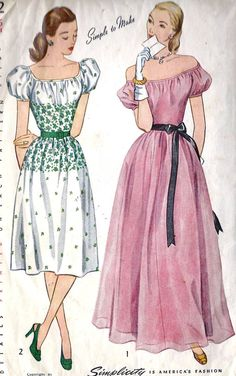 "1940s Misses Daytime and Evening Dress or Gown Vintage Sewing Pattern, Simplicity 1922 Bust 34"" uncut"