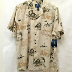 Caribbean Joe Sz 3XL Hawaiian Shirt Beige Palm Tree Aloha Tropical XXXL New #CaribbeanJoe #ButtonFront #Casual Mens Plus Size Fashion, Best Mens Fashion, Caribbean Joe, Palm Trees, Hawaiian, Kimono Top, Tropical, Beige, Casual