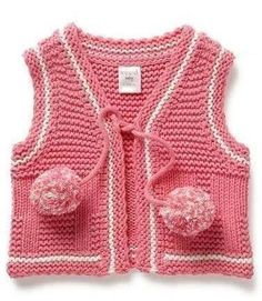 """diy_crafts-pembe yelek """"Cotton/Acrylic/ Lurex blend knit vest with pompom tie at front."""", """"knitted baby jackets lace and hand-knitted Models"""", Knitting For Kids, Baby Knitting, Crochet Baby, Knit Crochet, Knitted Baby, Baby Cardigan, Knit Vest, Knit Baby Sweaters, Girls Sweaters"""