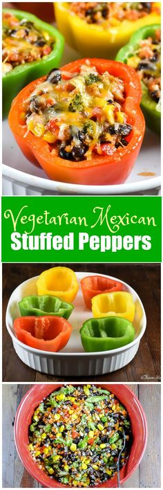 Vegetarian Mexican Stuffed Peppers are colorful bell peppers stuffed with a medley of vegetables, including riced cauliflower and sweet potato, roasted broccoli, black beans, corn and Mexican seasonings. #VeggieSwap #ad @GreenGiant via @flavormosaic