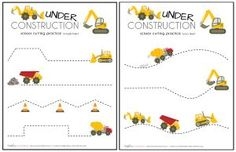 Construction truck scissor cutting sheet printables
