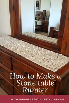 How to make a stone pebble table runner. Why have a boring table runner when you can make something unique and beautiful. Diy Wood Projects, Home Projects, Outdoor Projects, Furniture Projects, Garden Projects, Wood Furniture, Homemade Tables, Burlap Table Runners, Diy Home Improvement