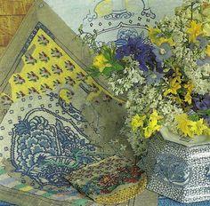 Beautiful blue and white needlepoint vase by Kaffe Fassett.