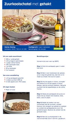 Zuurkoolschotel - Lidl Nederland Diner Recipes, Dutch Recipes, Clean Eating, Healthy Eating, Fabulous Foods, Light Recipes, Quick Easy Meals, Food Inspiration, Good Food
