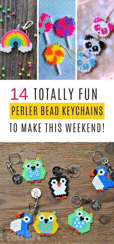 These Perler Bead Keychains are the Perfect Back to School Craft is part of Beaded keychains - These perler bead keychains are great fun for kids to make and then can be hung from keys or zipper pulls Fun back to school craft or teacher gift idea! Beading Tutorials, Beading Patterns, Loom Patterns, Art Patterns, Painting Patterns, Loom Beading, Bracelet Patterns, Embroidery Patterns, Diy Crafts For Kids