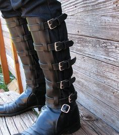 Steampunk Black Leather Shin Guards or Gaiters by VampieOodles, $75.00