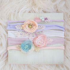 Pastel newborn tiebacks. Newborn tieback pack. by VioletLovesMe