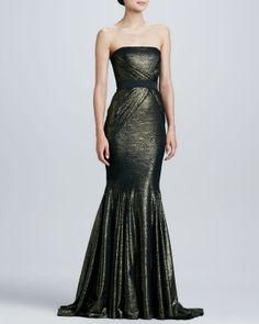 Strapless colorblock gown by badgley mischka collection at neiman evening wear formal evening gowns neiman marcus junglespirit Choice Image