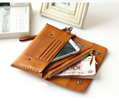 Handmade Leather Iphone Wallet Vintage by -MagicLeatherStudio-SR