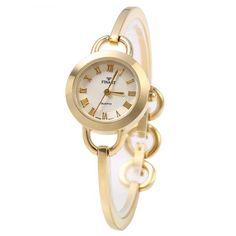 Thaitime Golden Case Female Bracelet Quartz Watch Alloy Band | TwinkleDeals.com