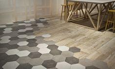 New Art Series Hexagonal decor, the evolution of geometric design. Kitchen Room Design, Best Kitchen Designs, Living Room Kitchen, Tile Laying Patterns, Floor Patterns, Honeycomb Tile, Hexagon Tiles, Living Room Flooring, Kitchen Flooring