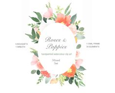 Watercolour Clipart Elements - Roses & Poppies, Flower Frame, Floral Elements, Clip Art, Flower Graphics, Orange Pink, Summer Design PNG by PaperSunDesign on Etsy https://www.etsy.com/uk/listing/570654166/watercolour-clipart-elements-roses