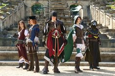 Videogame: Assasin´s Creed Brotherhood. From left to right: Courtisean By Nuna Cosplay, Faustine By Maelle,  Ezio By Laurent, Lia The  Smuggler By Teo 'aka' Sulian Miles (France).  & Doctor By Perrine.  2014.