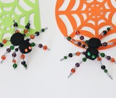 These beaded spiders are spooky cute and easy to make. Jamie from @craftingchicks will show you how to make these with your littles. Click for supplies and steps.  #halloweencrafts #beadedcrafts #kidscraft #kidscraftideas #craftingideas #halloweencraftsforkids #handmadecrafts #halloweenfun #fun365 #orientaltrading