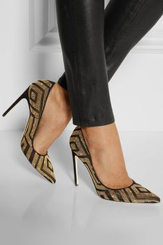 Covered heel measures approximately 110mm/ 4.5 inches Black suede and gold leather Slip on Come with replacement heel tips