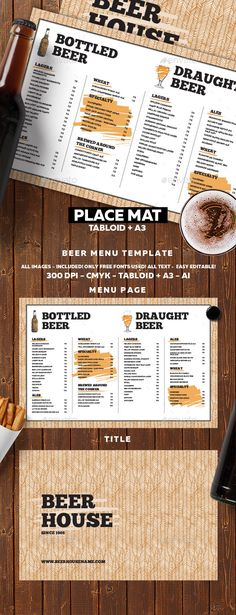 Beer Menu - Food Menus Print Templates Download here : https://graphicriver.net/item/beer-menu/17826576?s_rank=149&ref=Al-fatih