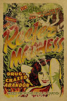 Affiche de Reefer Madness. papier d'emballage de 12 x 18 Art Print Mary Jane Weed propagande Marijuana Cannabis légaliser