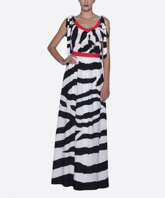 Another great find on #zulily! Black & White Stripe Ruffle Scoop Neck Maxi Dress by Elfe #zulilyfinds