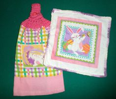 Crochet Top Towel Set  Easter Bunny Towel and by CarriesCraftStore