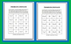 Math Game - Multiplication Concentration Freebie